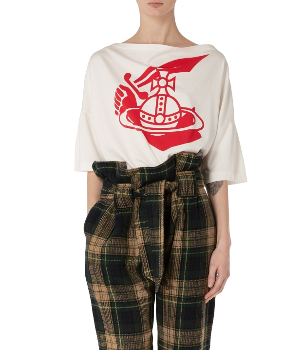 middling t shirt and plaid trouser