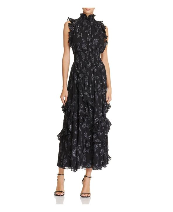 rebecca-taylor-Black-Ruffled-Rose-Jacquard-Maxi-Dress